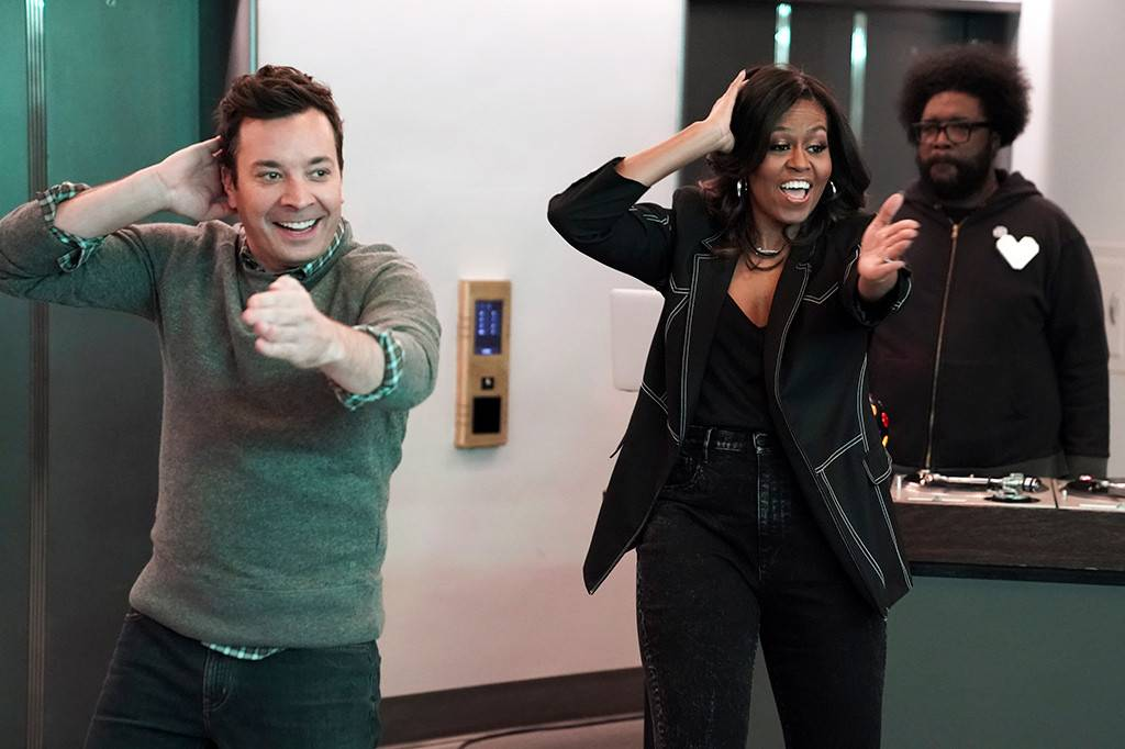 Fallon & Michelle Obama Prank Elevator Riders During NBC Tour