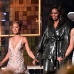GRAMMYS: Michelle Obama Joins Lady Gaga, Jennifer Lopez & Jada Pinkett Smith In Surprise Appearance