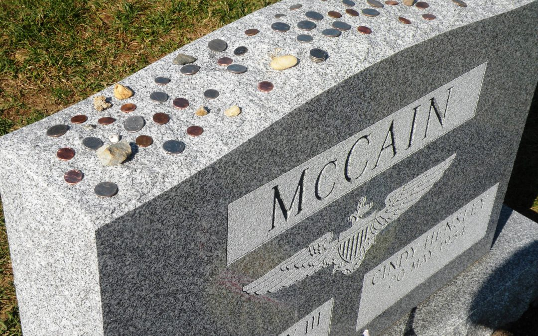 Coins Being Left At Grave Of John McCain – Symbol Of Respect From Fellow Military Members